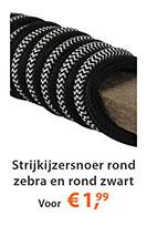 strijkijzersnoer zwart rond en zebra rond